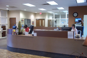 Customer service lobby with workers ready to help